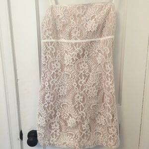 NWT Pretty Little Thing Nude/White Lace Dress